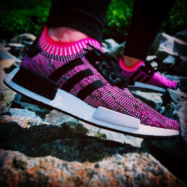 Pretty In Pink. #NMD #adidas #adidasnmd #3stripesstyle #pink #boost #boosted #shockpink #nomad #r1 #primeknit #kotd #sneakergirl