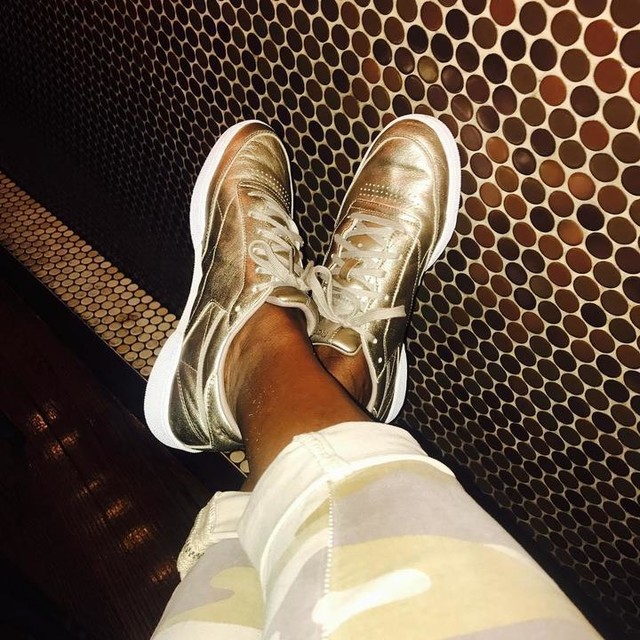 Not really a shoefie, more like a sneakfie of the day. #reebokclassic #metallic #gold #camouflage