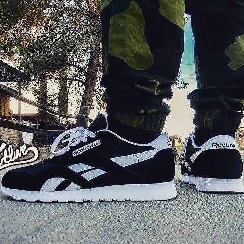 reebok classic black and white nylon