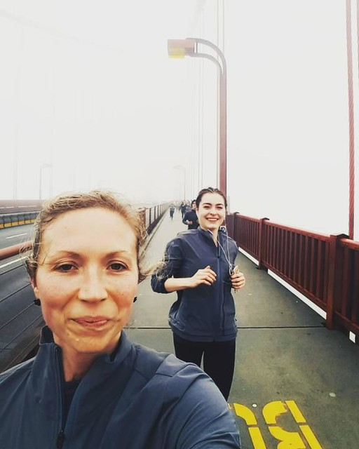 Sharing  Some miles Smiles  And energy With my  Gal @nicoleloher  On a misty Bridge Run Over the  Big one . . . . . #girlsrunnyc x sf #womeninsport  #womensrunning #moremilesin2017 #adidasambassador