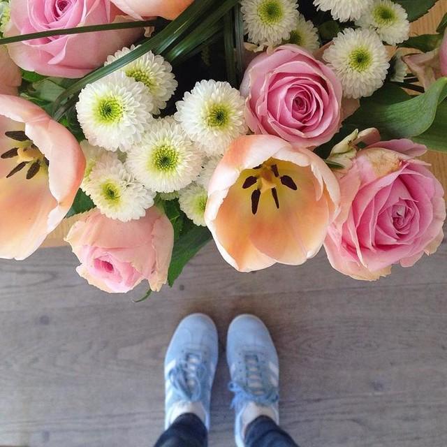 Des gazelles bleu clair et des fleurs, le kiff total 😁💕 #birthday #anniv #cadeaux #gifts #gazelle #adidas #chaussures #shoes #baskets #bleu #bleuclair #blue #couleur #color #fleurs #flowers #bouquet #rose #pink #girly #bonheur #happy #spring