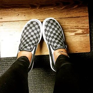 vans classic slip on black pewter checkerboard