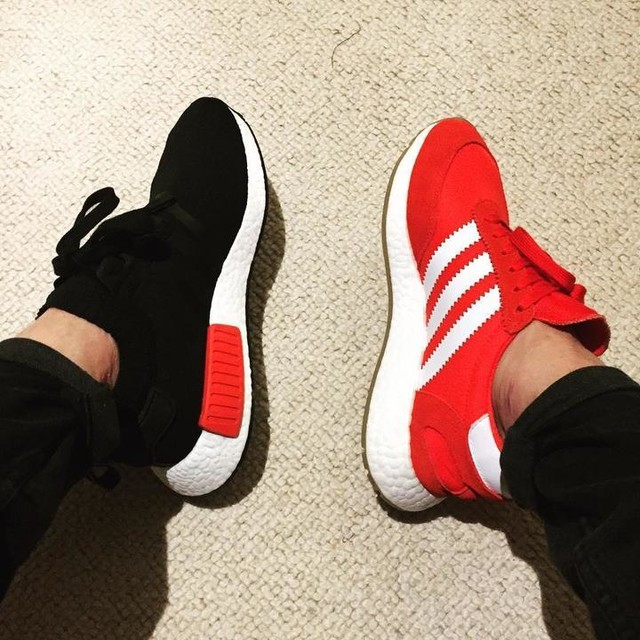 Going to the pub with @lancenochance and @joe_simpson , bank holiday after all. Left or right? . #theannexe #adidas #adidasoriginals #iniki #nmd #OG #sneakers #instakicks #friends