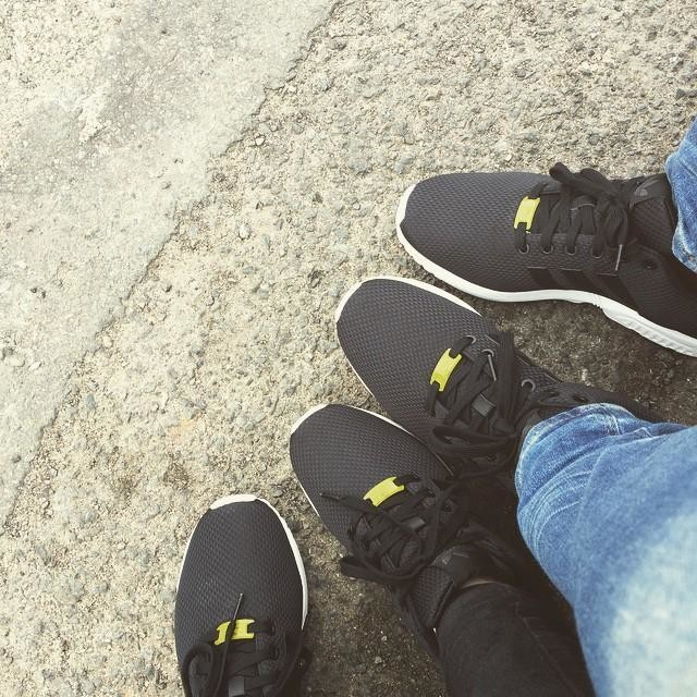 Another pair of matching trainers happened...🙈🙊 #adidas #couple #trainers #black #flux #jeans #together
