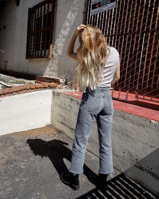 mollylouloves - Jean Droit à Taille Haute & Jambe Courte Harper, Bleu Indigo