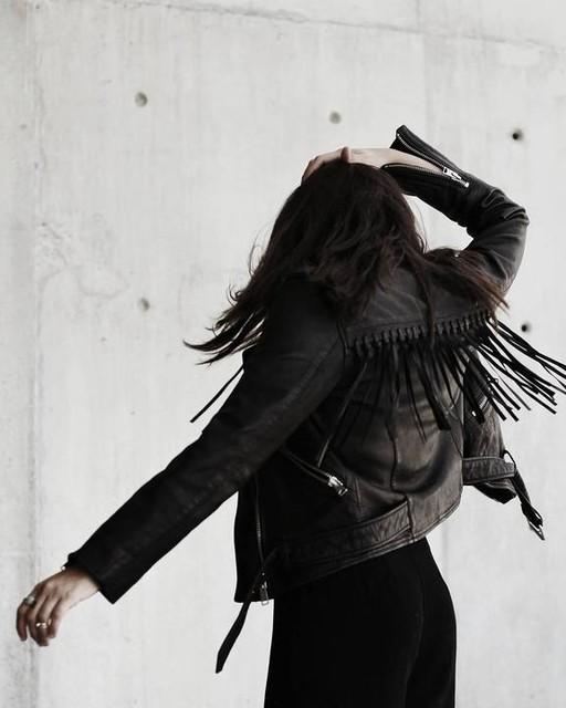 Rebecca Garrido - Tassel Balfern Leather Biker Jacket