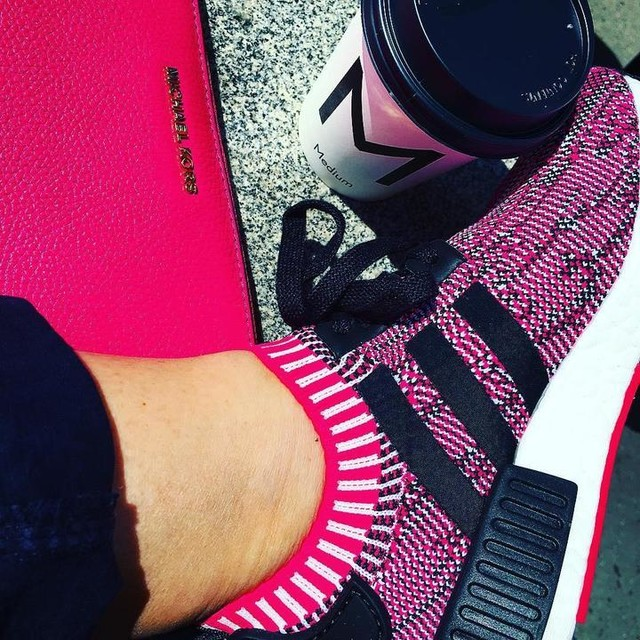 #work #lunch #outside #flatwhite #coffee #new #shoes #sneakers #adidas #nmd #primeknit #pink #michaelkors #wallet #prague #spring #sunnyday #loveit #mammacoffee @adidasoriginals
