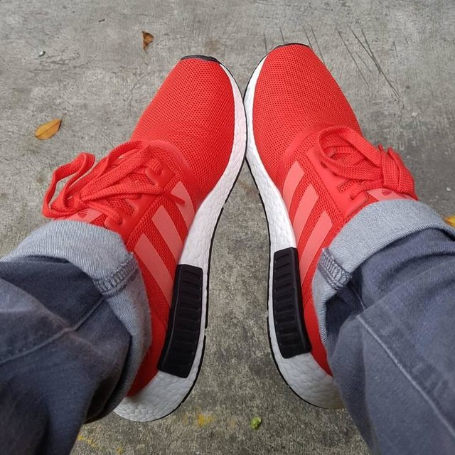 Hoping my new pair of #redshoes would take me to places this #newyear! Thanks @amromualdez for the gift! #adidas #nmdr1 #boost #nmd #uncaged