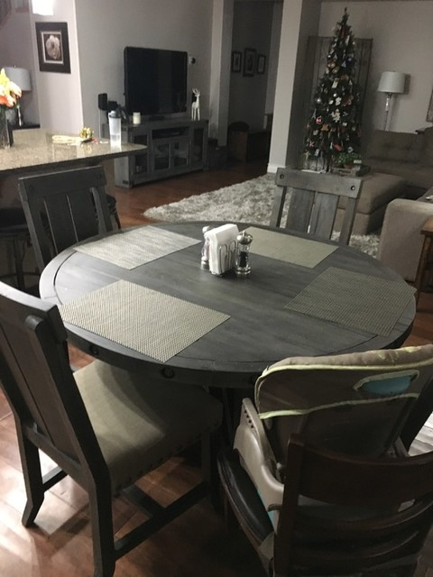 Jaxon Grey 5 Piece Round Extension, Round Dining Table Set With Extensions